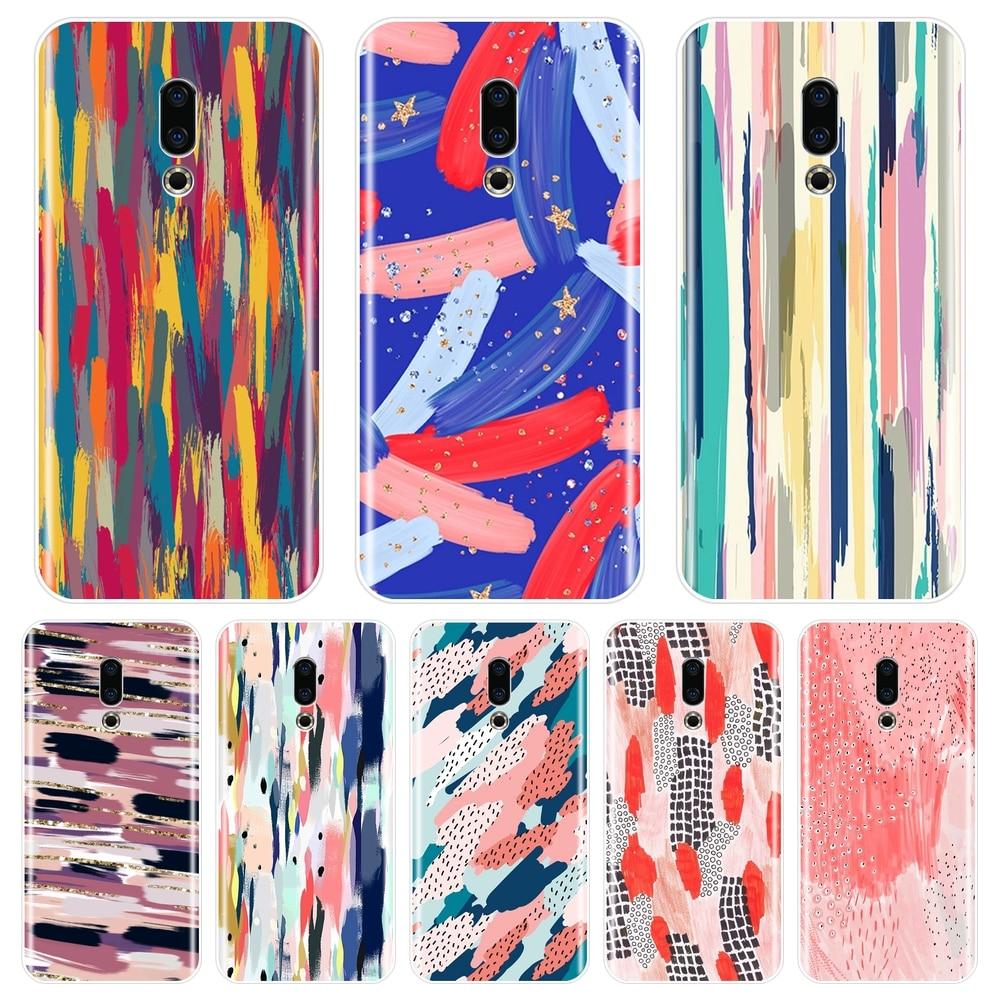 Phone Case For Meizu 15 Lite 16 Plus 16th 16x Art Graffiti Stripes Silicone Soft Back Cover For Meizu U10 U20 Pro 6 7 Plus Case