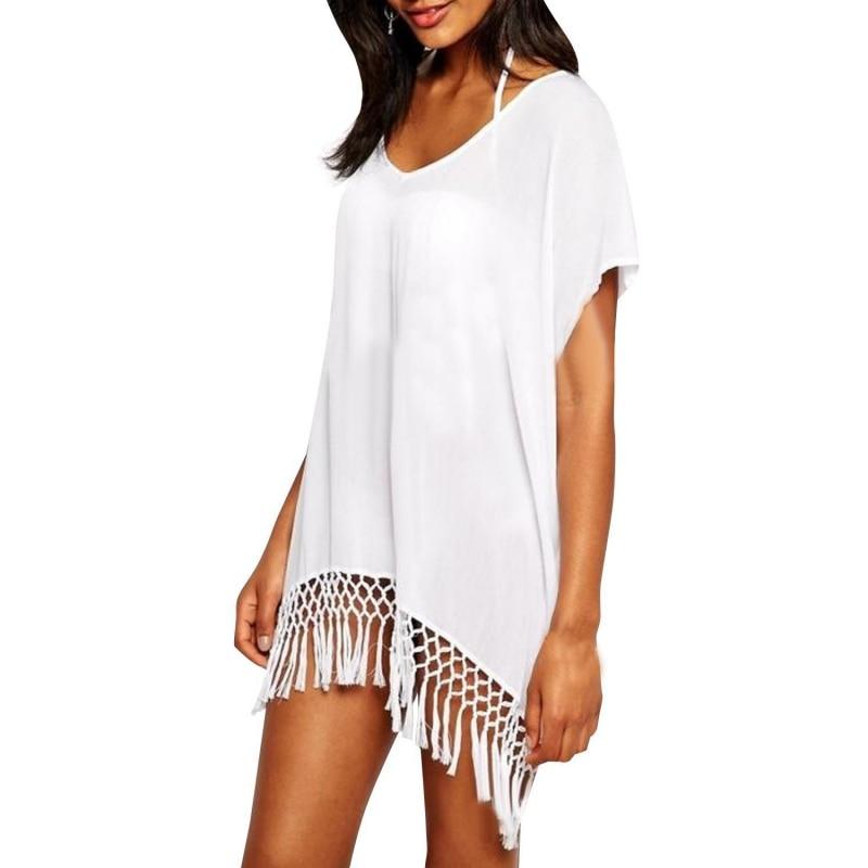 Ropalia Mode été Plage Robe Avec Glands Vêtements De Plage Blanc Manches Courtes Col En V Mini Robe Maillot De Bain Robe Maillots De Bain Y6