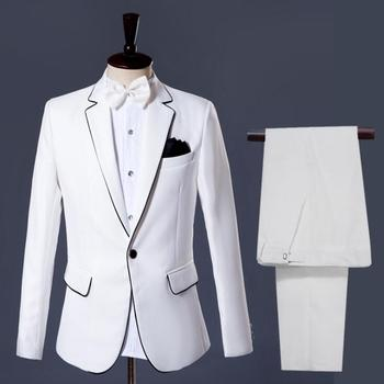 White blazer men groom suit set with pants mens wedding suits costume singer star style dance stage clothing formal dress