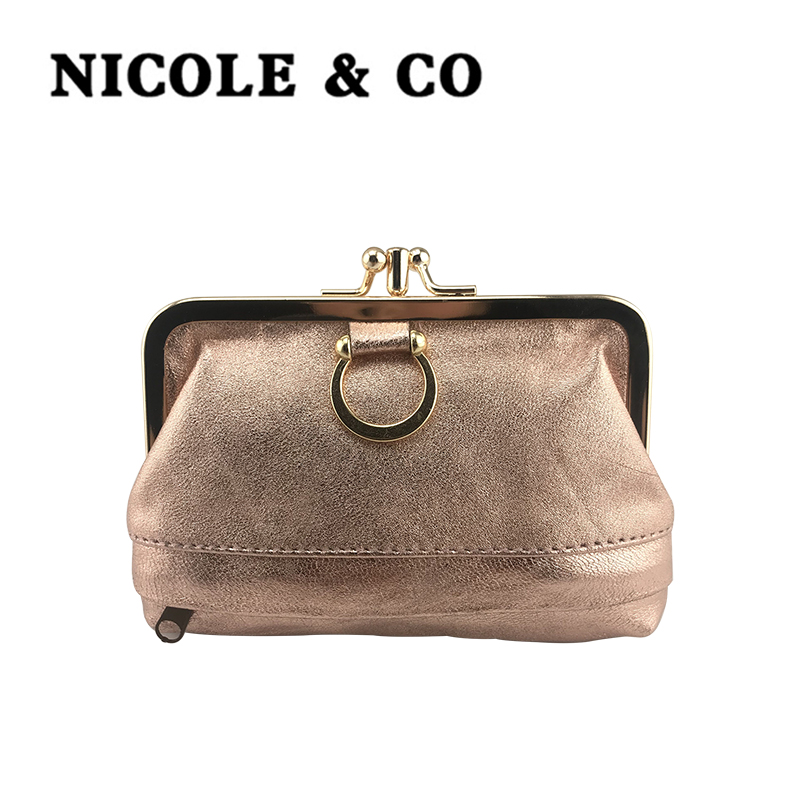 NICOLE & CO Genuine Leather Coin Purse Sheepskin Change Wallet Metal Hasp Closure Card Holder Wallet Zipper Small Bag Womens