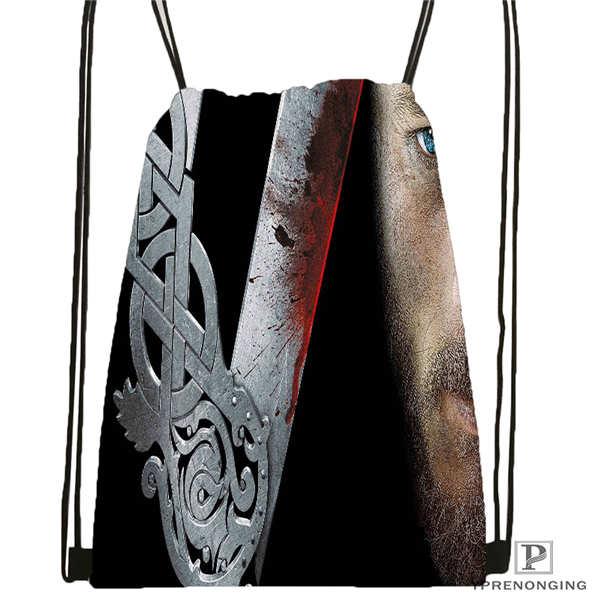 Custom Winnick-vikings-season   Drawstring Backpack Bag Cute Daypack Kids Satchel (Black Back) 31x40cm#20180611-02-93