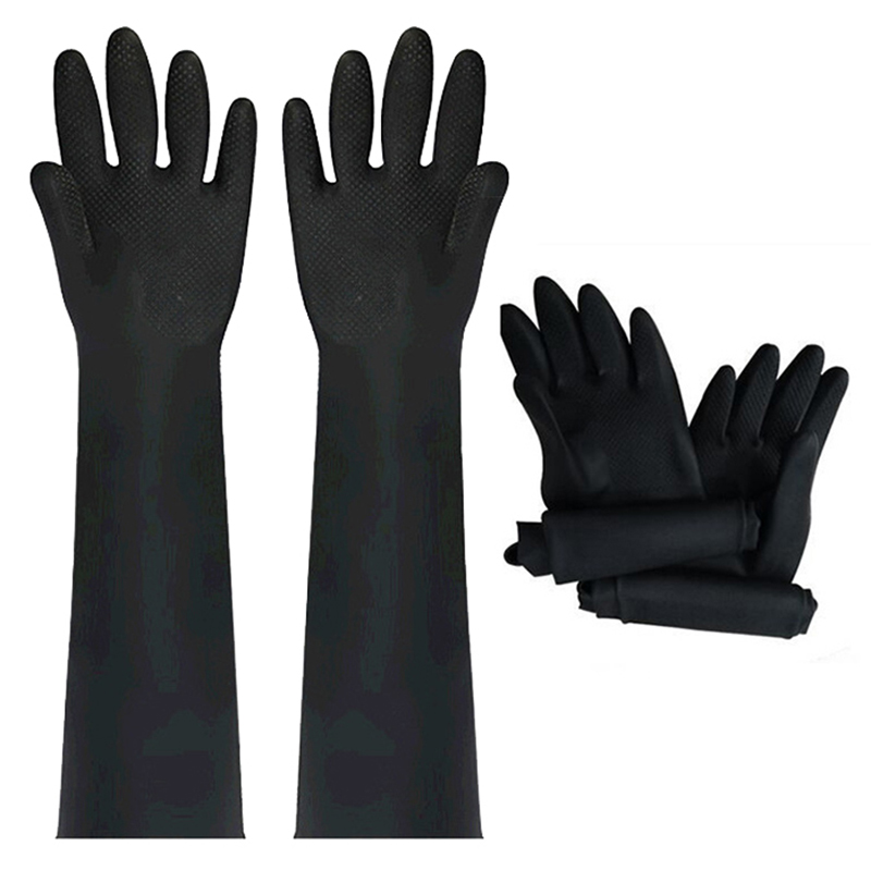 1 Pair Acid Alkali Resistant Gloves-Rubber Waterproof Thicken Industrial Chemical Resistance Anti-skid Latex Long Rubber Gloves mister b thick industrial rubber gloves 9 черные резиновые перчатки