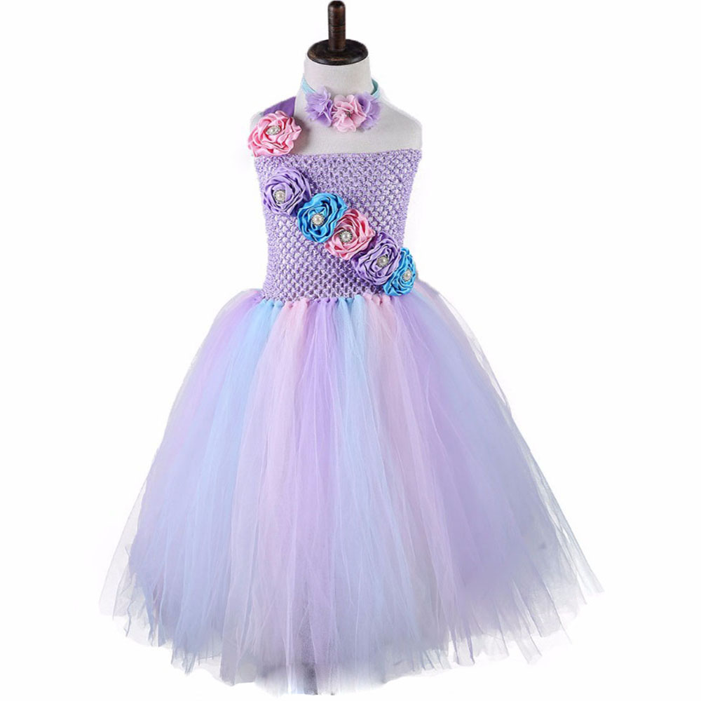Flower Girl Tutu Dress For Birthday Wedding Party Lolita Style Tulle Childrens Day Princess Girls Ball Gown Dress 1-10Y юбка other flower lolita b113