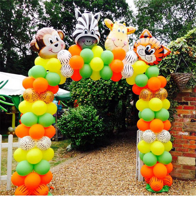 Us 0 91 8 Off Animal Balloons Jungle Safari Party Baloons Jungle Party Decorations Foil Animal Ballon Birthday Party Decor Kids Cartoon Hat In