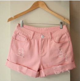 Новое поступление, летние популярные повседневные винтажные джинсовые шорты для женщин, белые, розовые, черные, большие размеры, хлопковые шорты свободного кроя, джинсы S3215 - Цвет: Розовый