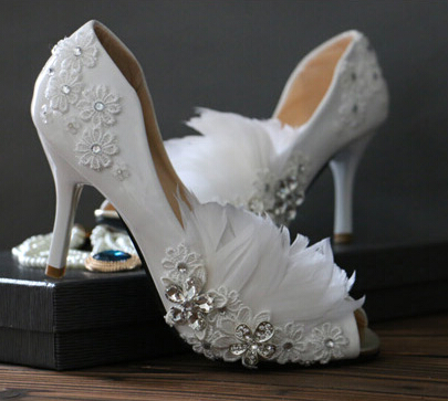 Woman s spring summer sexy open peep toes wedding pump shoe TG158 feathers crystal lace sexy
