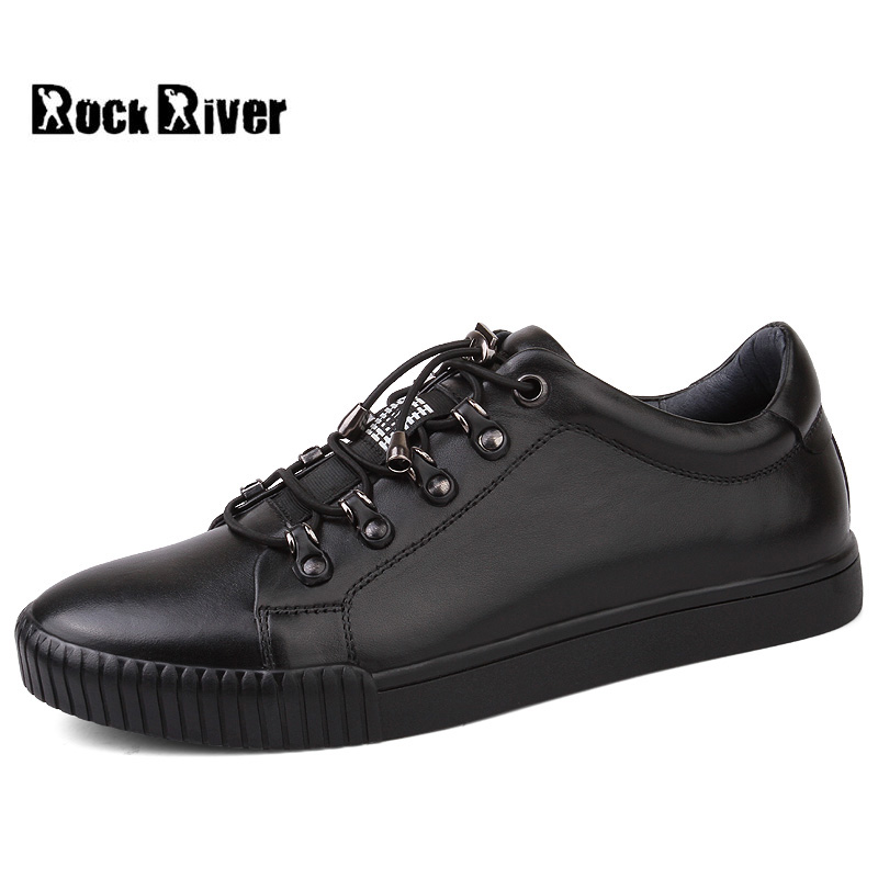 2018 New Spring Autumn Genuine Leather Shoes Men Black Lace-up Flat Men Casual Shoes Warm Fur Winter Shoes Men Sneakers 2016 spring autumn europe china style new tide men canvas casual shoes blue black letters print sewing elastic band flat shoes