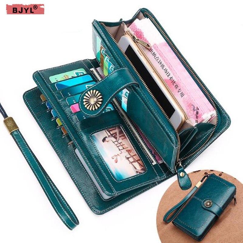 BJYL portefeuille Long femme Anti-magnétique portefeuilles femme en cuir véritable grande capacité pochettes de crédit porte-carte porte-monnaie