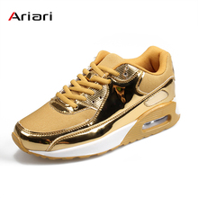 Fashion Pu Leather Women Sneakers Breathable Mesh Casual Shoes Flat Vulcanize shoes gold Silver 46