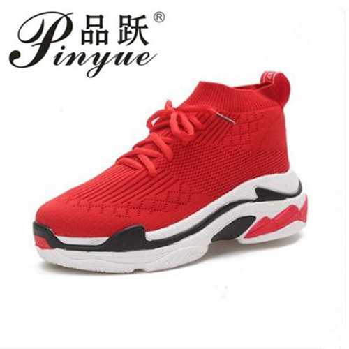 2018 Spring Fashion Sneakers Women Slip On Breathable trainers women Platform Shoes Tenis Feminino Casual Shoes Women Black/Red
