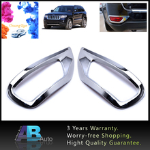 2pcs ABS Chrome Rear Fog Lamp Light Cover Trim For Jeep Grand Cherokee 2011-2015 Auto Accessories Stickers chrome car styling front fog lamp cover light overlay foglight trim panel 2014 2015 2016 for jeep grand cherokee accessories
