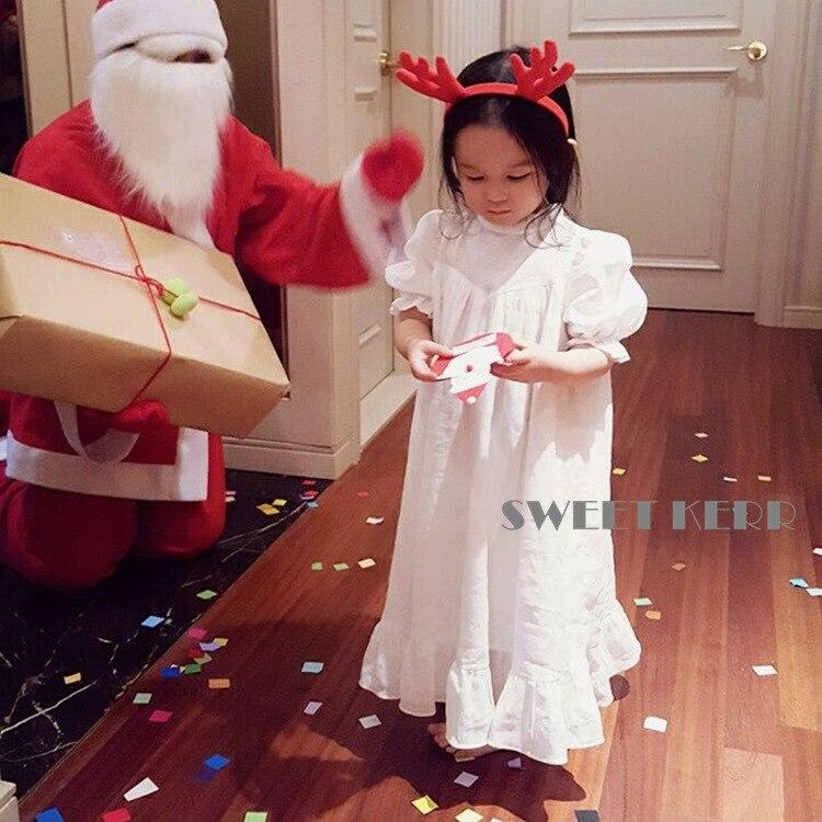 EnkeliBB Girl Sweet Long Dresses Vintage Style Summer Pretty White Dress Kid Girl Korean Japan Style Baby Ankle-Length Dress