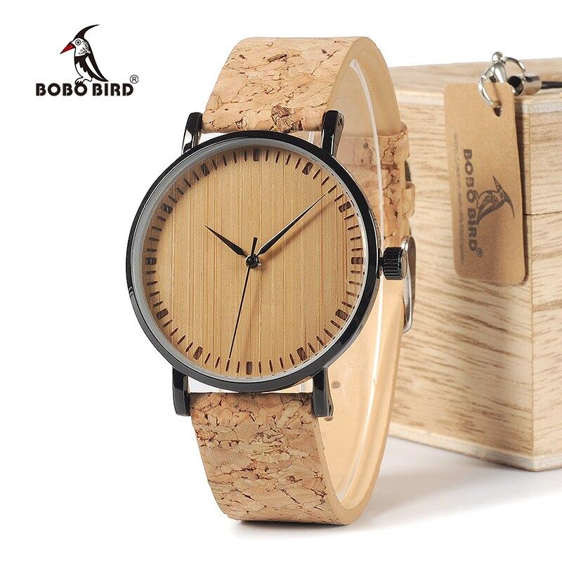 2999181ce5e BOBO PÁSSARO WE19 Top Quality Rodada Relógios De Rosto de Bambu com Caso  Cortiça Couro Bandas de Aço inoxidável com Caixa de Presente Gota grátis em  ...