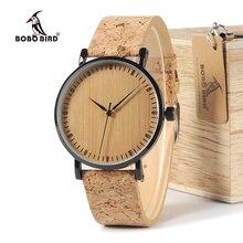 BOBO VOGEL WE19 Top Qualität Runde Uhren Bambus Gesicht mit Edelstahl Fall Kork Leder Bands mit Geschenk Box Drop verschiffen