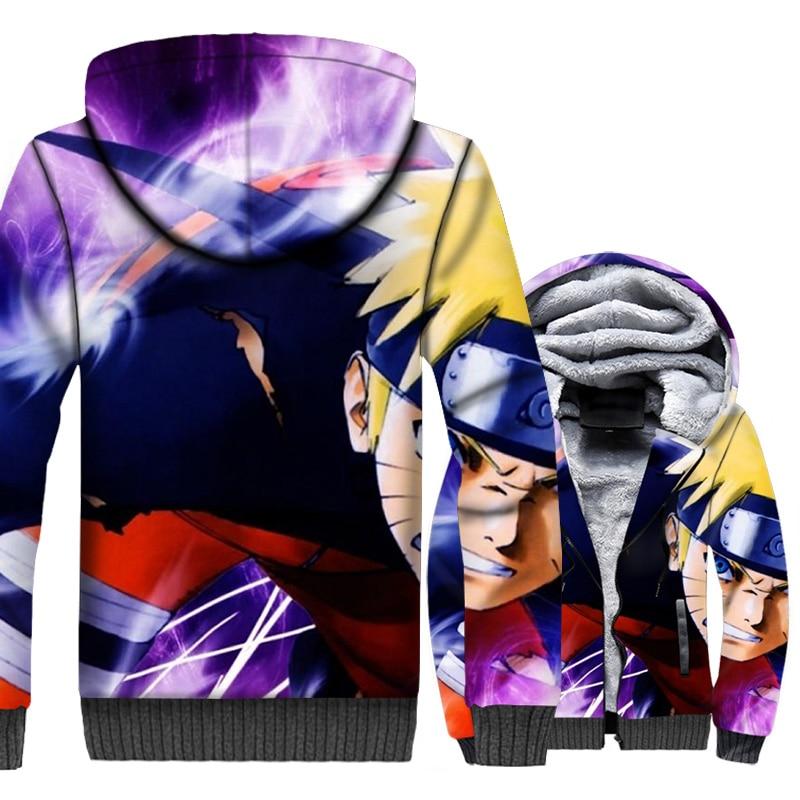 Anime Uzumaki Naruto hoodie Men Harajuku Sweatshirt Mens Winter Thick Fleece Warm Japan Coat 3D Cool Jacket Hipster Sportswear in Hoodies amp Sweatshirts from Men 39 s Clothing