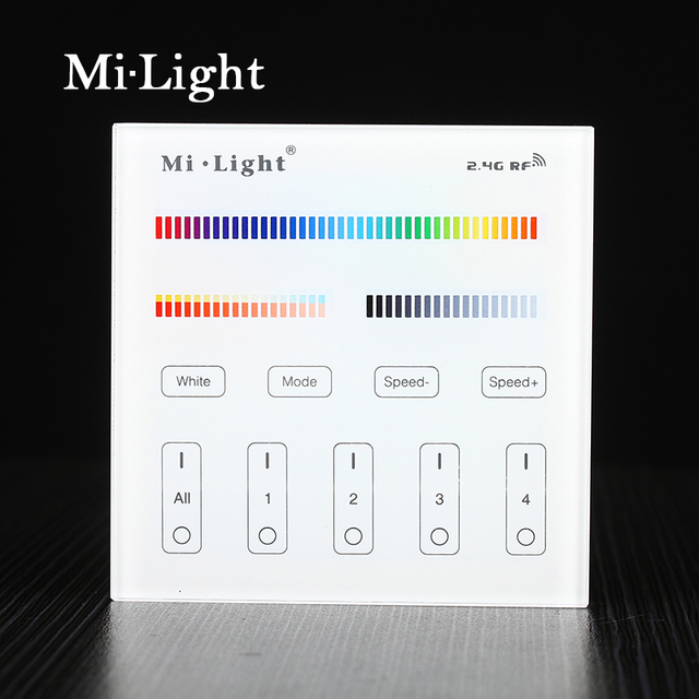 Milight t4 ac220v 4 zone rgbcct smart panel remote controller for milight t4 ac220v 4 zone rgbcct smart panel remote controller for led strip aloadofball Gallery