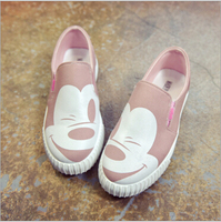 2016 Autumn New Korean Female Low To Help Single Shoes Round Canvas Round Flat Mickey Female