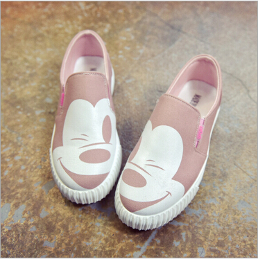2018 autumn new Korean female low to help single shoes round canvas round flat Mickey female