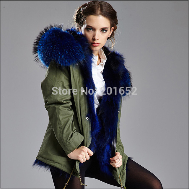 Winter Fashion Women Detachable Big Fur Hooded Coat, Popular Army ...