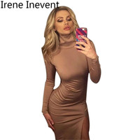Irene Inevent Autumn Women Dress 2017 Long Sleeve Black Bodycon Dresses Stretch Sexy Split Evening Party