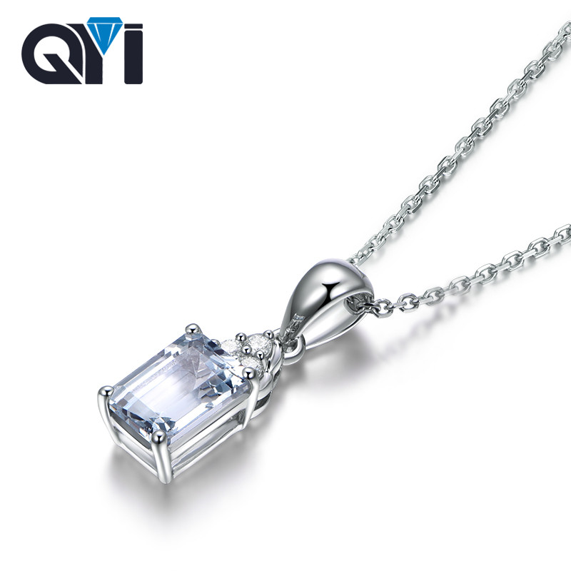 QYI 925 Sterling Silver Solitaire Natural Gemstone Pendants Necklace 1ct Emerald cut Natural sky Blue Topaz Pendants For Women