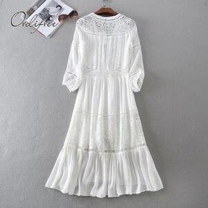 Image 2 - Ordifree 2020 yaz kadın uzun tunik plaj elbise Sundress uzun kollu beyaz dantel seksi Boho Maxi elbise tatil elbise