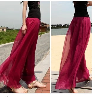 Spring and summer holiday special offer beach   pants   size waist loose Chiffon skirts gold culottes   wide     leg     pants     pants