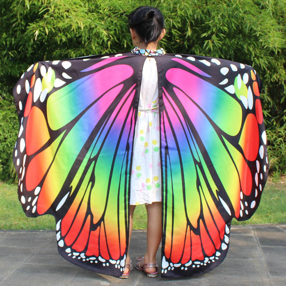 Belly Dance Butterfly Wings Shawl Kids Dresses For Girls Dancing Colorful Fairy Carnival Costume Foulard Femme Drop Shipping C