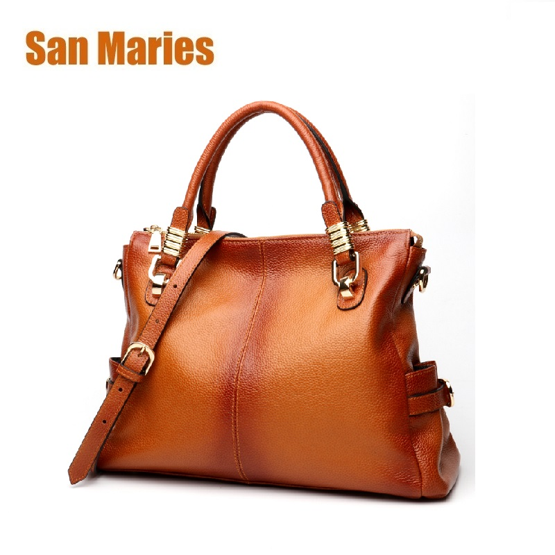 San Maries Women Tote Bag Handbags Genuine Leather Casual Hand Bags Big Capacity Woman Shoulder Bag Large Ladies Shopping Bags women crocodile pattern handbag fashion casual tote large shoulder bags ladies brand genuine leather shopping bag gift hand bag