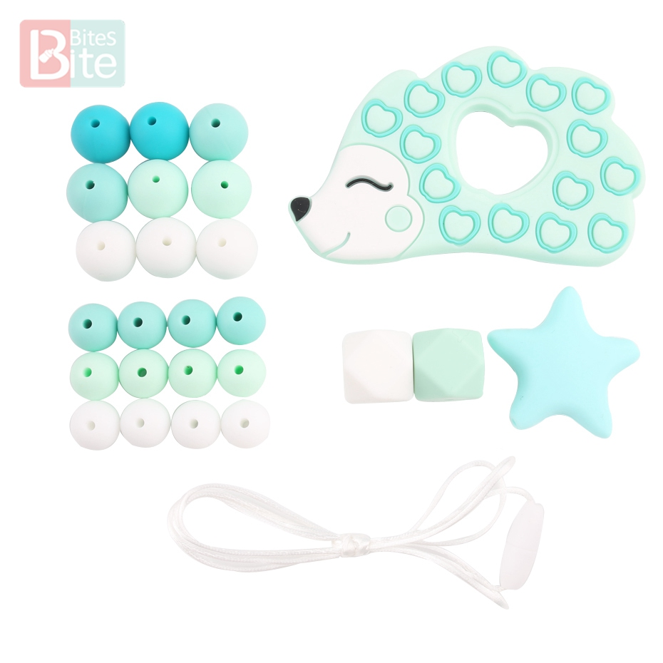 Bite Bites 1Set DIY Baby Silicone Teether Beads Teething Rodent Hedgehog Pendant DIY Necklace Infants Tooth For Children Product