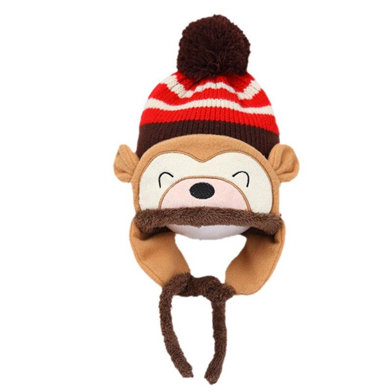 ᗖInvierno Beanie Cap Kid infantil de dibujos animados Monkey ...