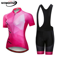 Weimostar Summer Team Cycling Clothing Women Short Sleeve Mountain Bike Bicycle Jersey Suit Breathable Racing Cycling Jersey Set