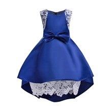 O vestido da menina sem mangas elegante Europeia sólidos bow princess dress para 3-10yrs crianças meninas crianças festa de casamento desempenho vestido