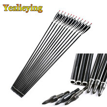 6/12 /24pcs32 Spine 500 High Quality Aluminum Arrow Black Turkey Feathers Composite and Recurve Archery Target Practice
