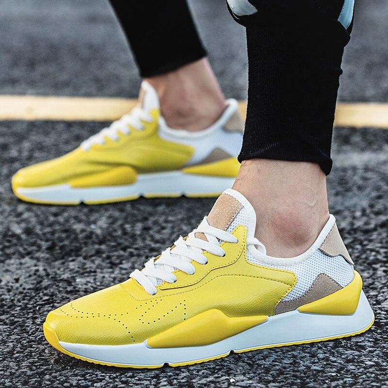 Best Selling 2018 Sport Shoe Brands For Men Designer Running Shoes Men Yellow/Black Male Sneakers Rubber Bottom Jogging Shoe Men