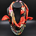 Silk Scarf Necklace color chain Pendant Long Neckerchief  Scarves Women Printed Muffler 2016 New fashion winter Scarfs