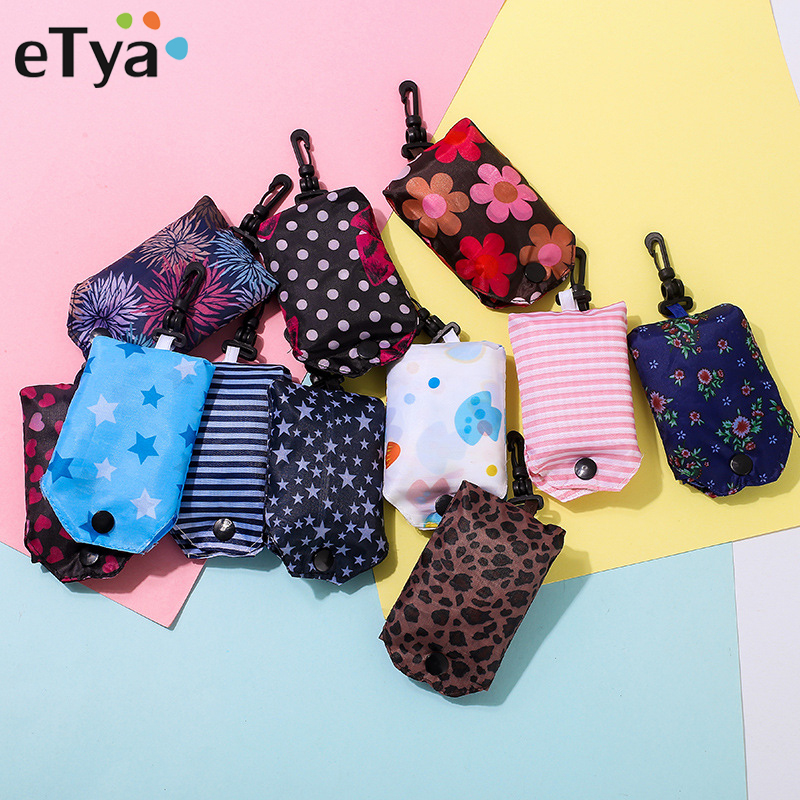 купить eTya New Foldable Portable Shopping Bag Reusable Tote Pouch Recycle Storage Handbags Women Fashion Home Travel Organizer Bag по цене 74.8 рублей