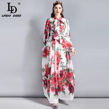 LD LINDA DELLA Fashion Runway 5XL Plus size Maxi Dresses Women's Long sleeve Bow collar Elegant Rose Floral Printed Long Dress ld linda della runway maxi dress women s flare sleeve belt casual bohemian party holiday lemon floral print long dress