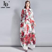 LD LINDA DELLA Fashion Runway 5XL Plus size Maxi Dresses Women's Long sleeve Bow collar Elegant Rose Floral Printed Long Dress цена и фото