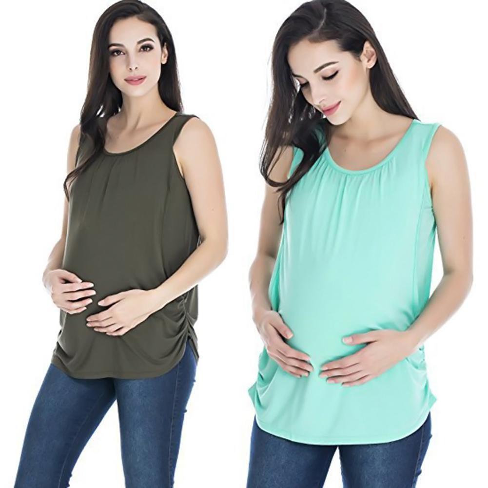 Round Neck Sleeveless Maternity Vest Top Breastfeeding T-Shirt