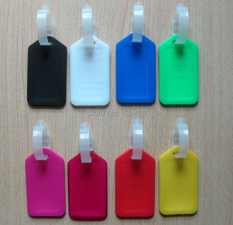 US $48 0  wholesale 100 pcs Plastic Luggage Tags Waterproof Name Cards  Suitcase Labels-in Bag Parts & Accessories from Luggage & Bags on
