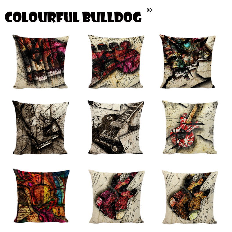 Gifts New Music Notes Print Cushion Covers Guitar Map Violin Lumbar Pillow Cover Camping Home Decor Living Room Linen Pillowcase