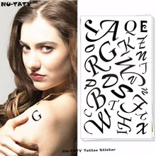 Nu-TATY Alphabet Letters Temporary Tattoo Body Art Arm Flash Tattoo Stickers 17x10cm Waterproof Fake Henna Painless Tattoo
