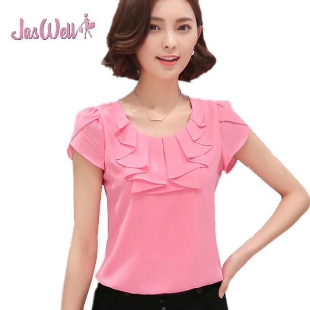 e01693452a7ad Jaswell Oficina mujeres Camisas Blusas elegante damas gasa ol desgaste de  trabajo SLIM sólido manga corta