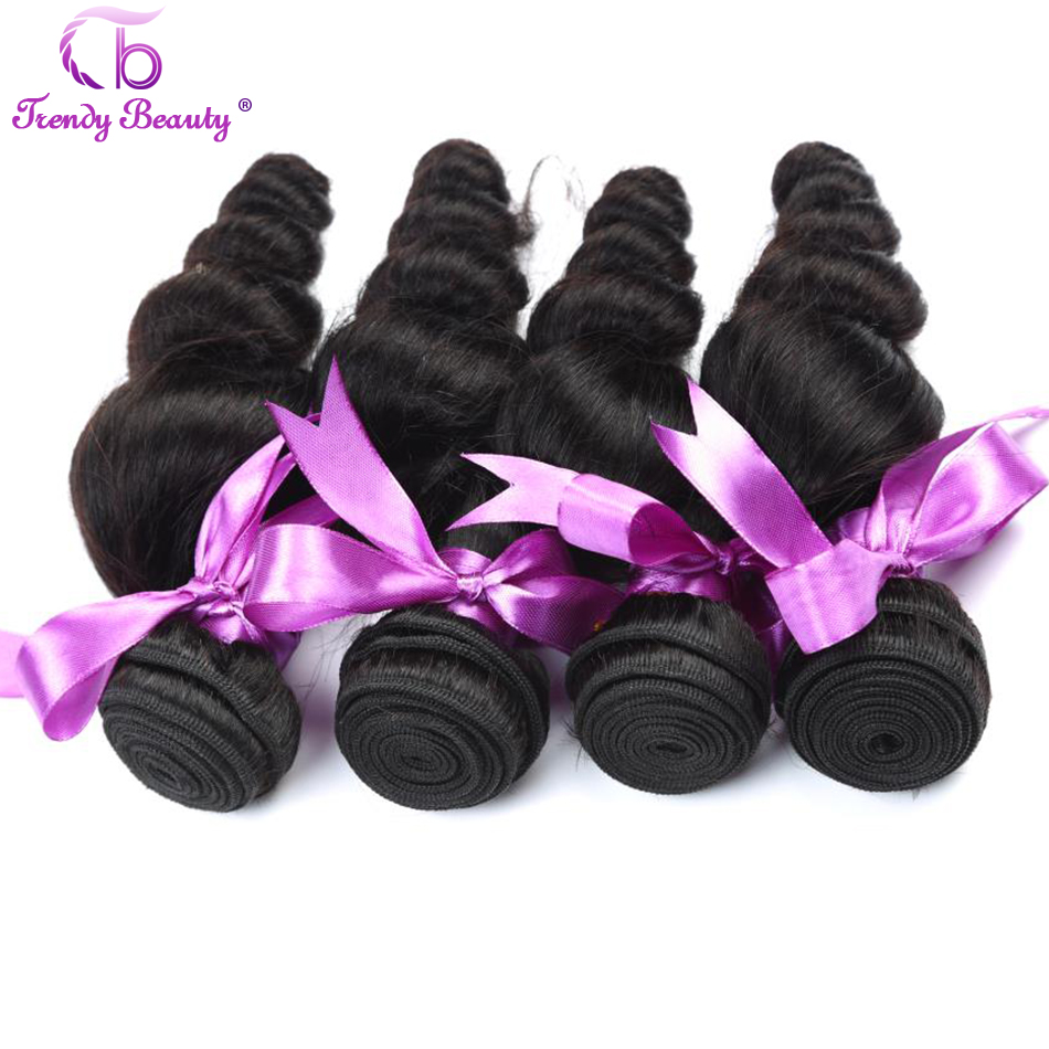 4 pcs a lot loose wave brazilian hair weave bundles Trendy Beauty human hair extension non-remy 8-30 inches color #1b can be dye