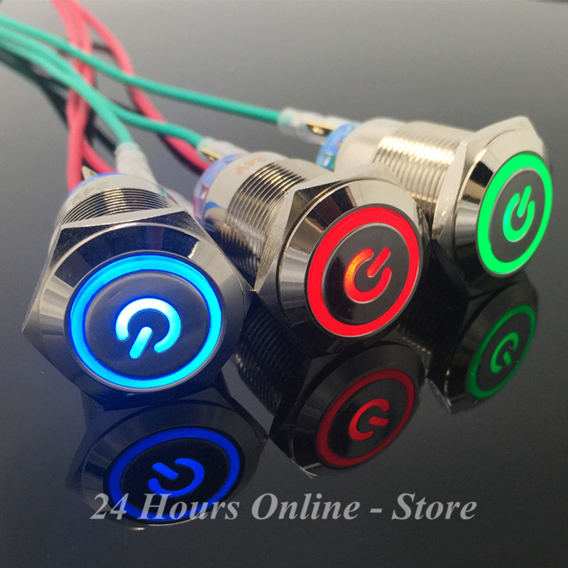 5-Colors Car Computer Appliances DIY 19mm 12V Metal LED Power Push Button Switch Self-locking With Power symbol 001# asis car computer appliances diy 19mm 12v angel eye aluminum metal led power push button switch self locking 002 ai 1 ai14
