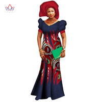 2017 African Dresses for Women Bazin Riche Wax Print Patchwork Dress Private Custom Lantarn Sleeve Traditional Clothing WY2719