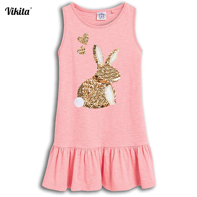 VIKITA Girls Sequined Dress Children Rabbit Butterfly Unicorn Vestidos Kids Summer Dresses Toddlers Cotton Sleeveless Clothes