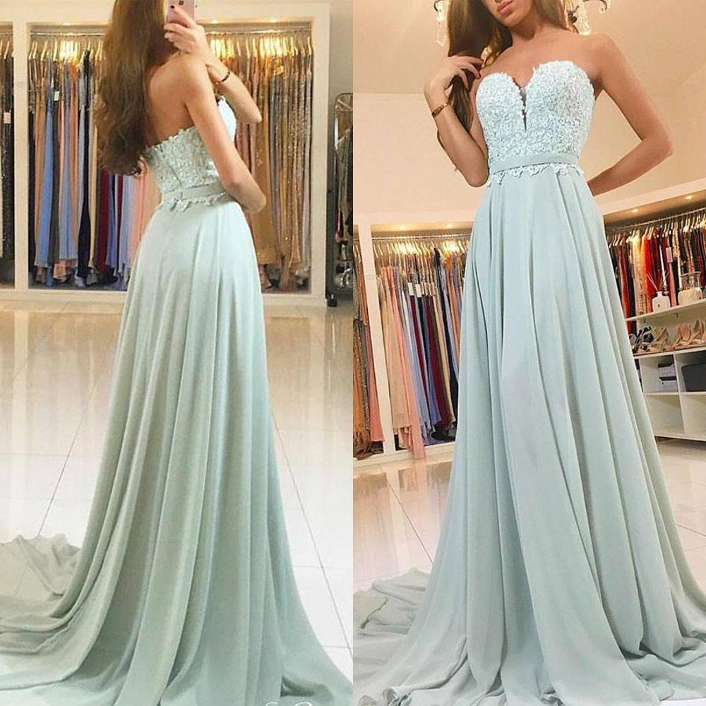 New Elegant Long Chiffon   Bridesmaid     Dresses   Strapless A Line Lace Top Cheap Women Wedding Party Gowns 2019 Custom Made