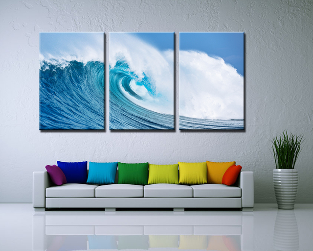 3 Panels Painted Ocean Waves Oil Painting On Canvas Mural Modern Wall Picture Seascape